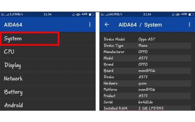 Cek Tipe HP Oppo Dengan Aplikasi AIDA64