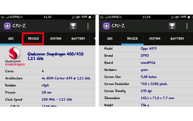 Cek Tipe HP Oppo Dengan Aplikasi CPU Z