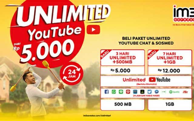 Daftar Paket Indosat Unlimited Youtube