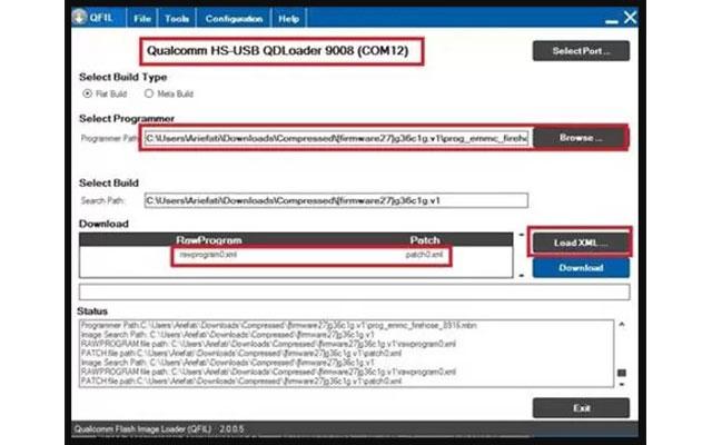 Pada kolom download tersedia beberapa opsi silahkan pilih Load XML. Lalu arahkan ke rawaprogram0.xml . Kemudian silahkan klik patch0.