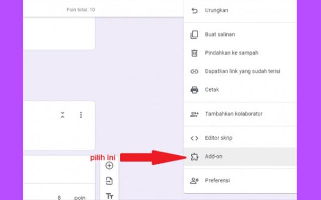 Selesai melakukan pengeditan soal silahkan klik ikon 3 titik di pojok kanan atas. Lalu klik Add on.