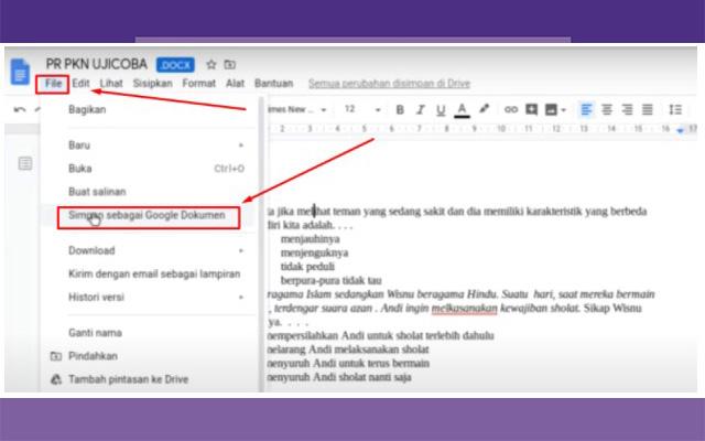 Setelah itu ganti nama file dokumen. Lalu klik file dan pilih simpan sebagai Google Dokumen.