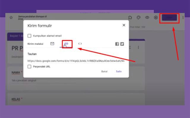 Setelah proses pengeditan selesai silahkan klik kirim untuk mengirim soal ke siswa. Lalu klik link dan silahkan copy link.