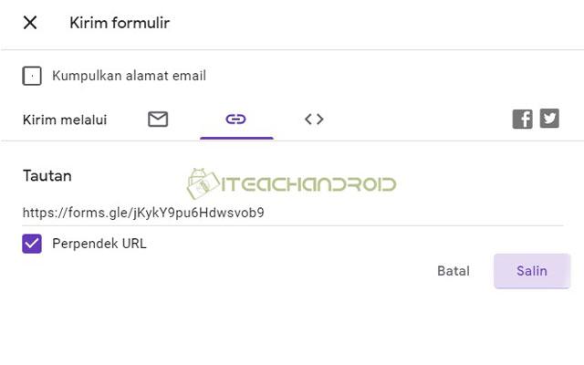 Anda bisa mengirim melalui email atau melalui link. Agar lebih mudah silahkan kirim melalui link. Jika link terlalu panjang silahkan centang opsi perpendek URL kemudian silahkan klik Salin.