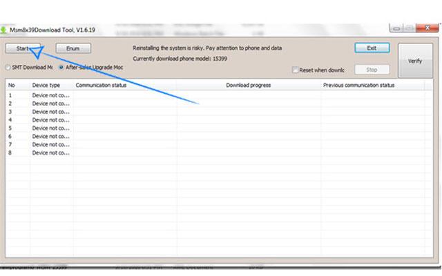 Setelah msm terbuka dan Oppo A37 anda sudah terhubung silahkan langsung saja klik Start.