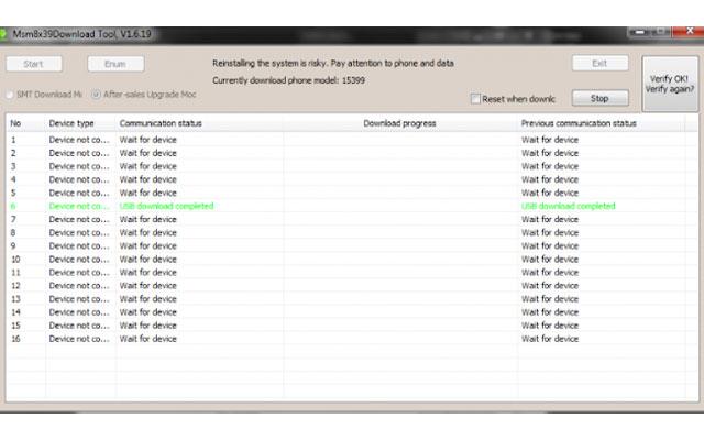 Setelah selesai, maka akan muncul tulisan berwarna hijau bertuliskan USB Download Complete.