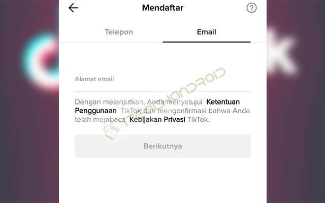 Buat TikTok Dengan Email