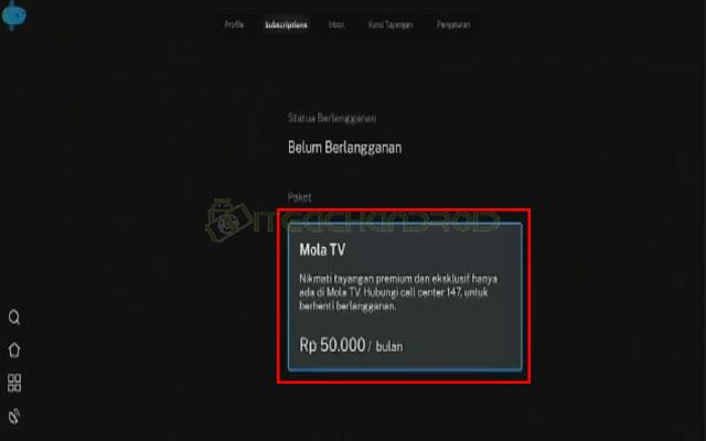 Lalu klik Package Rp. 50.000 per bulan
