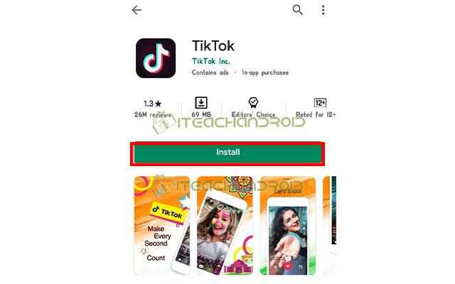 Install Aplikasi TikTok 1