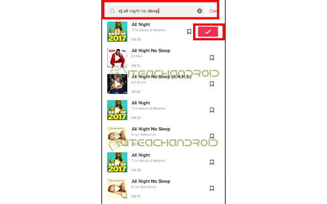 Jika sudah menemukan lagu yang cocok klik lagu tersebut lalu klik centang