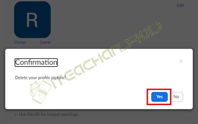 Klik Yes untuk mengkonfirmasi penghapusan foto profil
