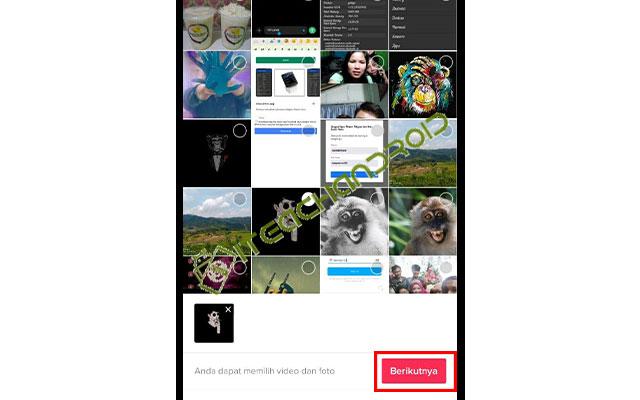 Lalu pilih foto yang ingin kamu edit. Jika sudah klik Berikutnya.
