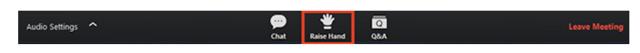 Tekan icon bergambar tangan Raise Hand pada kontrol webinar