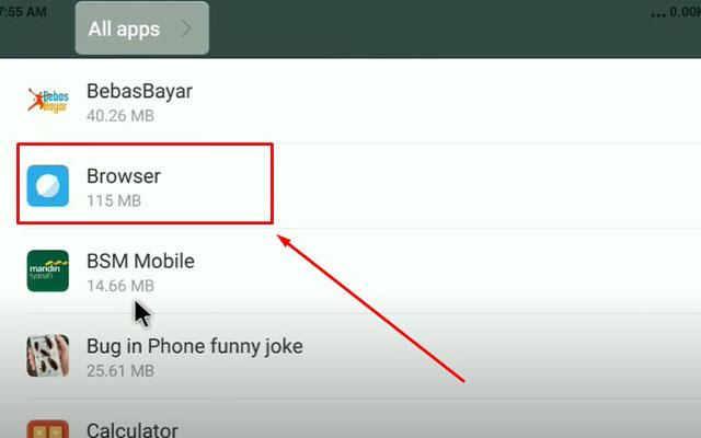 Kemudian akan muncul daftar seluruh aplikasi untuk di uninstal