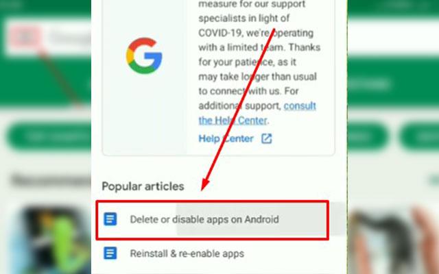 Langkah berikutnya pilih opsi Delete Or Disable Apps on Android