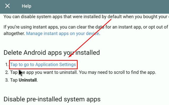 Setelah itu klik pada menu Tap to go to Application Setting