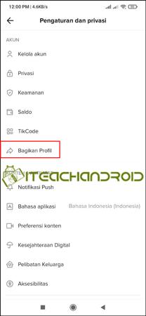 Selanjutnya pililah Bagikan Profil