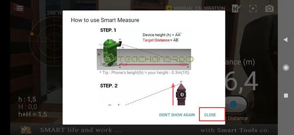 Setelah itu nantinya akan ada panduan menggunakan aplikasi Smart Measure tekan close untuk melanjutkan