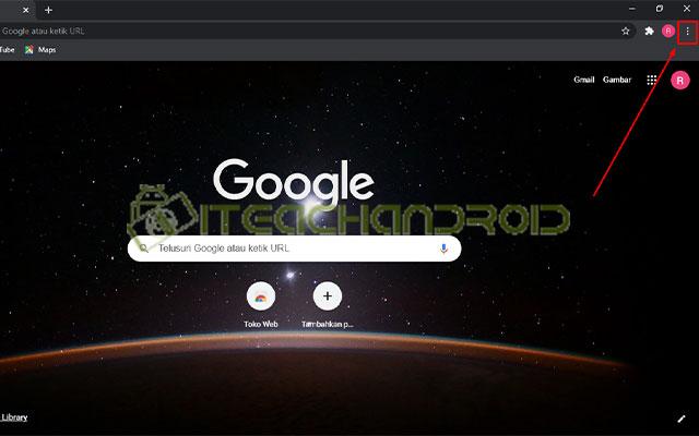 Langkah pertama bukalah Google Chrome lalu tekan tombol 3 Titik di sisi kanan atas.