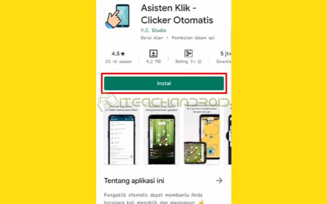 Langkah pertama silahkan instal aplikasi Asistant Klik Clicker Otomatis