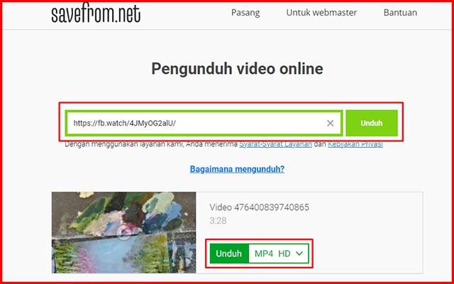 1. Menyimpan Video FB ke Galeri via Savefrom.net