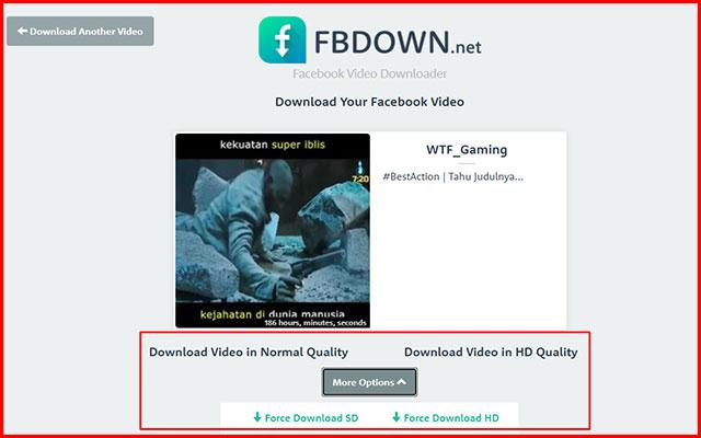2. Menyimpan Video FB ke Galeri via FBdown.net