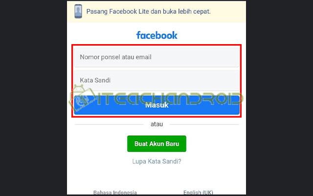 4. Login Akun Facebook