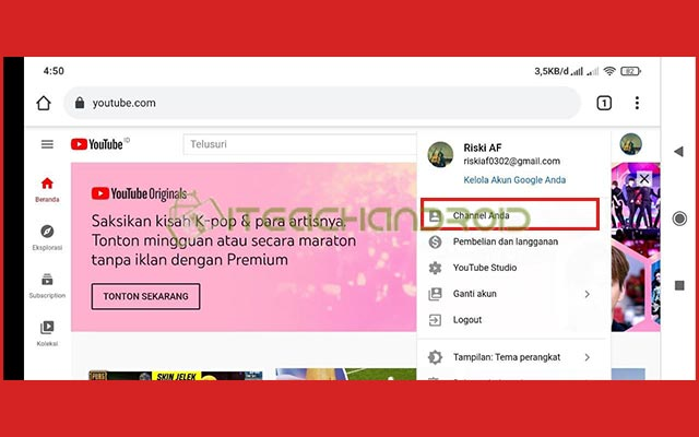 5. Buka Channel Youtube