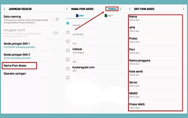 8. Mengubah Setelan APN Android