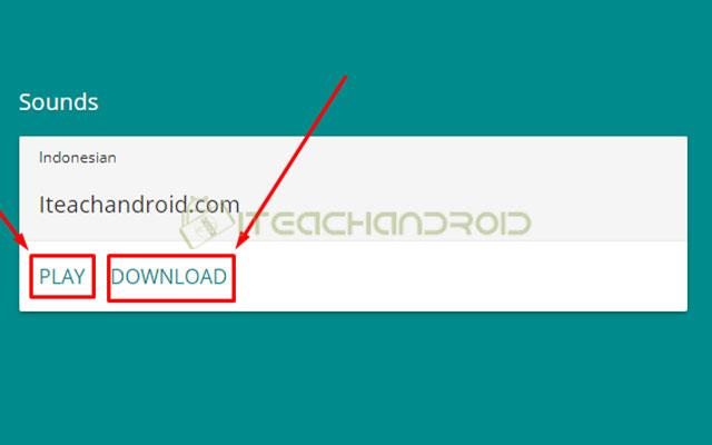 Maka nantinya pada bagian bawah akan muncul hasilnya. Untuk mendengarkan tekan tombol Play dan untuk menyimpannya ke penyimpanan tekan Download.