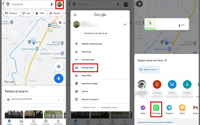Membagikan Lokasi Google Maps Lewat WhatsApp