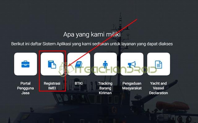 Selanjutnya pada halaman utama silahkan pilih menu REGISTRASI IMEI
