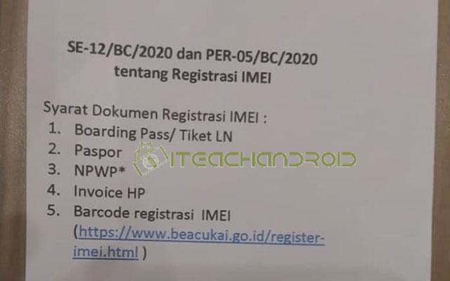 Syarat Daftar IMEI HP