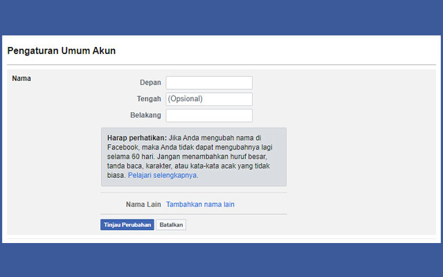 Syarat dan Ketentuan Ganti Nama di Facebook