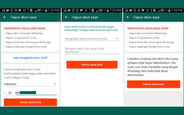 5. Hapus atau Nonaktifkan Akun WhatsApp