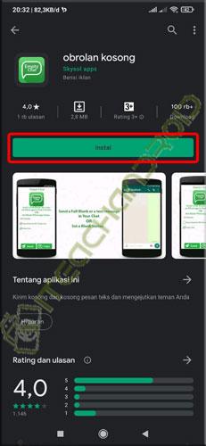 1. download dan install aplikasi Empty Chat