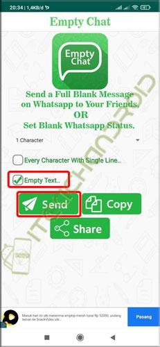 3. centang opsi Empty Text. Lalu tekan tombol Send