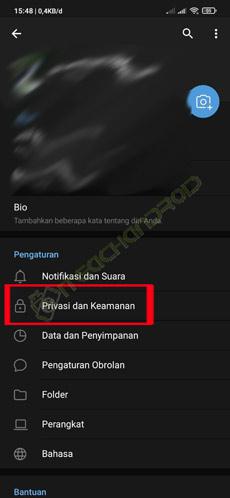 4. Tap Privasi Keamanan