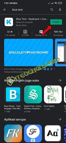 2. Install Aplikasi Blue Text