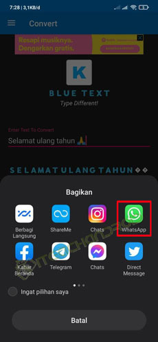 7. Pilih WhatsApp